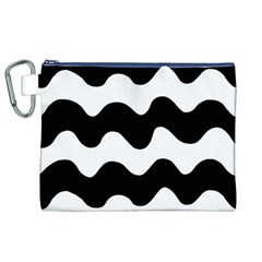 Lokki Cotton White Black Waves Canvas Cosmetic Bag (xl) by Mariart