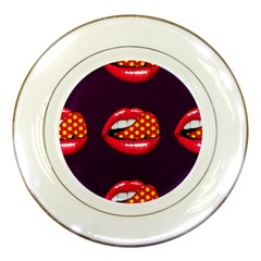 Lip Vector Hipster Example Image Star Sexy Purple Red Porcelain Plates by Mariart