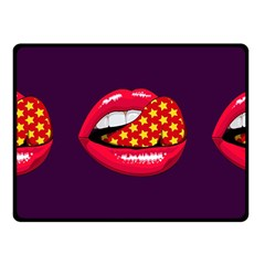 Lip Vector Hipster Example Image Star Sexy Purple Red Fleece Blanket (small) by Mariart