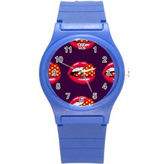 Lip Vector Hipster Example Image Star Sexy Purple Red Round Plastic Sport Watch (s) by Mariart