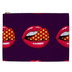 Lip Vector Hipster Example Image Star Sexy Purple Red Cosmetic Bag (xxl)  by Mariart