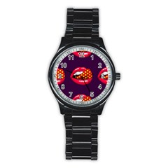 Lip Vector Hipster Example Image Star Sexy Purple Red Stainless Steel Round Watch by Mariart