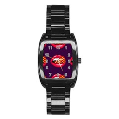 Lip Vector Hipster Example Image Star Sexy Purple Red Stainless Steel Barrel Watch by Mariart