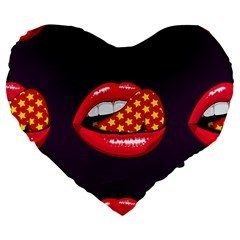 Lip Vector Hipster Example Image Star Sexy Purple Red Large 19  Premium Flano Heart Shape Cushions by Mariart