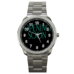 Opening Soon Sign Sport Metal Watch by Mariart