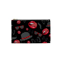 Lip Hat Vector Hipster Example Image Star Sexy Black Red Cosmetic Bag (small)  by Mariart