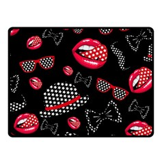 Lip Hat Vector Hipster Example Image Star Sexy Black Red Fleece Blanket (small) by Mariart