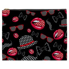 Lip Hat Vector Hipster Example Image Star Sexy Black Red Cosmetic Bag (xxxl)  by Mariart