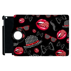 Lip Hat Vector Hipster Example Image Star Sexy Black Red Apple Ipad 2 Flip 360 Case by Mariart
