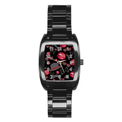 Lip Hat Vector Hipster Example Image Star Sexy Black Red Stainless Steel Barrel Watch by Mariart