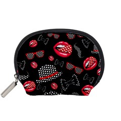 Lip Hat Vector Hipster Example Image Star Sexy Black Red Accessory Pouches (small)