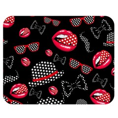 Lip Hat Vector Hipster Example Image Star Sexy Black Red Double Sided Flano Blanket (medium)  by Mariart