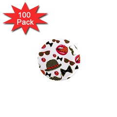 Lip Hat Vector Hipster Example Image Star Sexy 1  Mini Magnets (100 Pack)  by Mariart