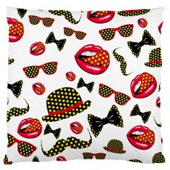 Lip Hat Vector Hipster Example Image Star Sexy Large Flano Cushion Case (one Side) by Mariart