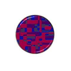 Offset Puzzle Rounded Graphic Squares In A Red And Blue Colour Set Hat Clip Ball Marker (4 Pack) by Mariart
