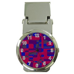 Offset Puzzle Rounded Graphic Squares In A Red And Blue Colour Set Money Clip Watches by Mariart