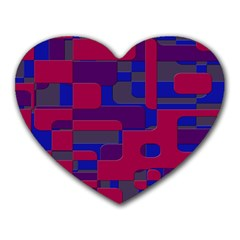 Offset Puzzle Rounded Graphic Squares In A Red And Blue Colour Set Heart Mousepads by Mariart