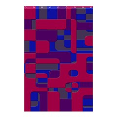 Offset Puzzle Rounded Graphic Squares In A Red And Blue Colour Set Shower Curtain 48  X 72  (small)  by Mariart