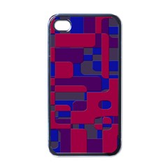 Offset Puzzle Rounded Graphic Squares In A Red And Blue Colour Set Apple Iphone 4 Case (black) by Mariart