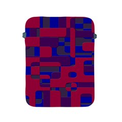 Offset Puzzle Rounded Graphic Squares In A Red And Blue Colour Set Apple Ipad 2/3/4 Protective Soft Cases by Mariart