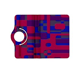 Offset Puzzle Rounded Graphic Squares In A Red And Blue Colour Set Kindle Fire Hd (2013) Flip 360 Case by Mariart