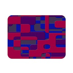 Offset Puzzle Rounded Graphic Squares In A Red And Blue Colour Set Double Sided Flano Blanket (mini)  by Mariart