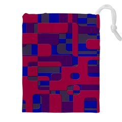 Offset Puzzle Rounded Graphic Squares In A Red And Blue Colour Set Drawstring Pouches (xxl) by Mariart