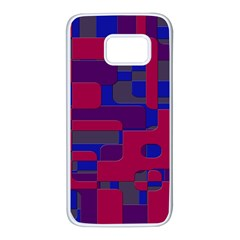 Offset Puzzle Rounded Graphic Squares In A Red And Blue Colour Set Samsung Galaxy S7 White Seamless Case by Mariart