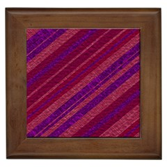 Maroon Striped Texture Framed Tiles by Mariart