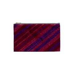 Maroon Striped Texture Cosmetic Bag (small)  by Mariart