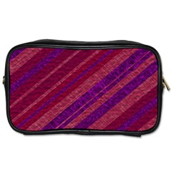 Maroon Striped Texture Toiletries Bags by Mariart