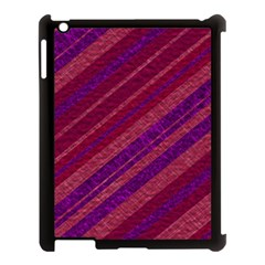 Maroon Striped Texture Apple Ipad 3/4 Case (black) by Mariart