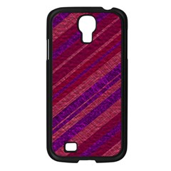 Maroon Striped Texture Samsung Galaxy S4 I9500/ I9505 Case (black) by Mariart