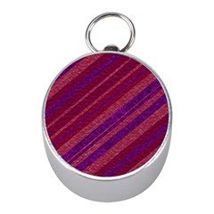 Maroon Striped Texture Mini Silver Compasses by Mariart