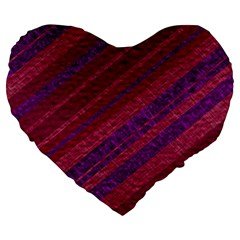 Maroon Striped Texture Large 19  Premium Flano Heart Shape Cushions by Mariart