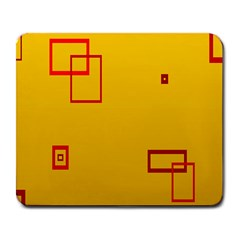 Overlap Squares Orange Plaid Red Large Mousepads by Mariart
