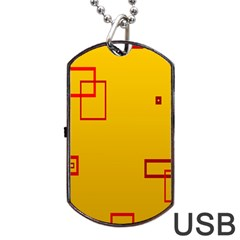 Overlap Squares Orange Plaid Red Dog Tag Usb Flash (one Side) by Mariart