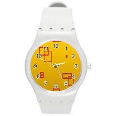 Overlap Squares Orange Plaid Red Round Plastic Sport Watch (m) by Mariart