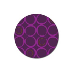 Original Circle Purple Brown Magnet 3  (round) by Mariart