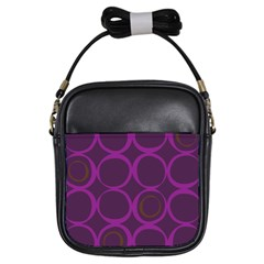 Original Circle Purple Brown Girls Sling Bags by Mariart