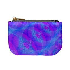 Original Purple Blue Fractal Composed Overlapping Loops Misty Translucent Mini Coin Purses by Mariart
