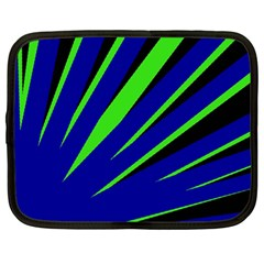 Rays Light Chevron Blue Green Black Netbook Case (large) by Mariart