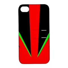 Rays Light Chevron Green Red Black Apple Iphone 4/4s Hardshell Case With Stand by Mariart