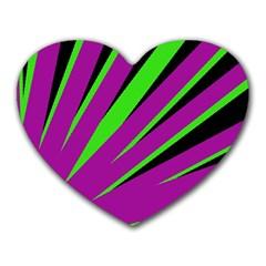 Rays Light Chevron Purple Green Black Heart Mousepads by Mariart