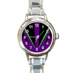 Rays Light Chevron Purple Green Black Line Round Italian Charm Watch by Mariart