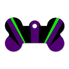 Rays Light Chevron Purple Green Black Line Dog Tag Bone (two Sides) by Mariart