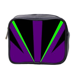Rays Light Chevron Purple Green Black Line Mini Toiletries Bag 2 Side by Mariart