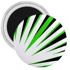 Rays Light Chevron White Green Black 3  Magnets by Mariart