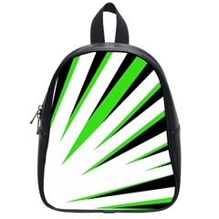 Rays Light Chevron White Green Black School Bags (small)  by Mariart