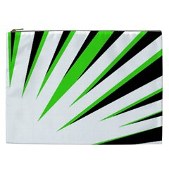 Rays Light Chevron White Green Black Cosmetic Bag (xxl)  by Mariart